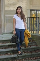 navy Forever21 jeans - black Handbag Heaven purse - mustard Forever21 cardigan