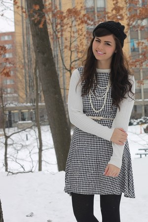black thrifted dress - ivory thrifted sweater