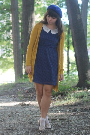 navy modcloth dress - navy Forever21 hat - mustard Forever21 cardigan
