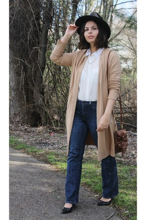 navy Levis jeans - camel thrifted sweater - white Forever 21 blouse