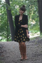 brown Old Navy boots - mustard thrifted dress - black Forever21 blazer