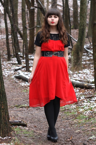 red Forever21 dress - black thrifted top