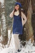blue modcloth dress - off white Target scarf - tan H&M cardigan