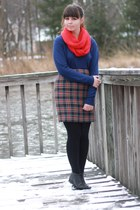 red Target scarf - black thrifted boots - navy thrifted sweater