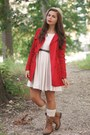 Camel-lulus-boots-beige-h-m-dress-ruby-red-forever21-jacket