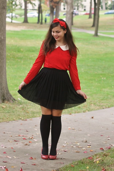 red OASAP blouse - black Forever21 skirt