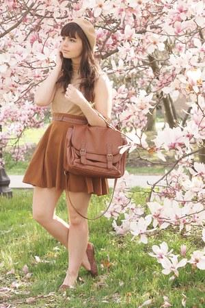 brown Forever21 skirt - beige thrifted shirt