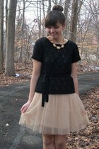 beige modcloth dress - black thrifted shirt - gold thrifted accessories