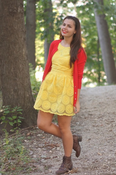dark brown pink and pepper boots - gold OASAP dress - red Old Navy cardigan