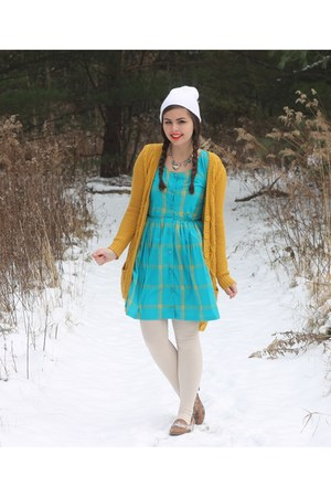 turquoise blue thrifted dress - white Aeropostale hat