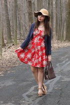 tan thrifted hat - red thrifted dress - navy H&M blazer