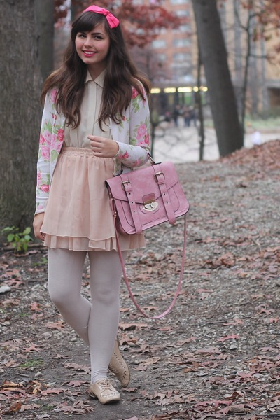 bubble gum thrifted bag - hot pink thrifted cardigan - tan OASAP skirt