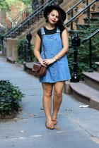 Denim Overall Dress with Raw Edge
