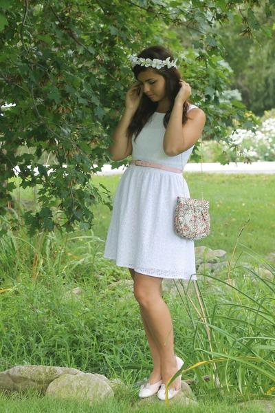 white delias dress - white deb hair accessory