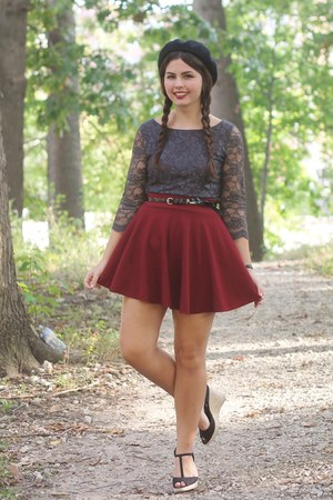ruby red OASAP skirt - heather gray Forever21 dress - black thrifted heels