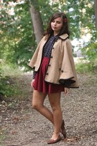 tan Forever21 cape - navy thrifted shirt - ruby red OASAP skirt