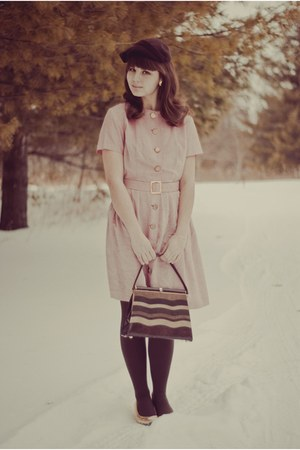 light pink thrifted dress - dark brown thrifted hat - dark brown thrifted purse