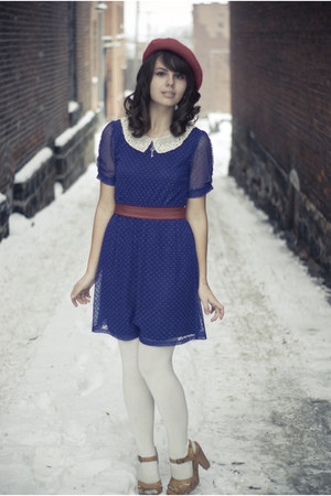 tan Target clogs - navy modcloth dress - ruby red Target hat