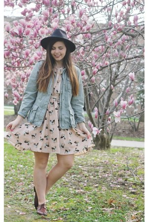 pink OASAP dress - army green thrifted jacket - dark brown Forever21 flats