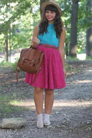 Forever21 purse - Forever21 skirt - pink and pepper loafers - Forever21 blouse
