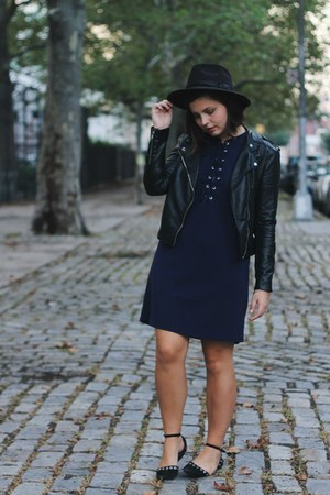 navy TJ Maxx dress - black H&M jacket