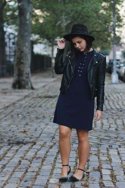 navy TJ Maxx dress - black H&M jacket
