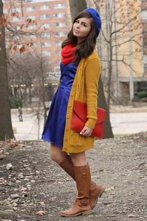 blue LuLus dress - red OASAP purse - mustard Forever21 cardigan