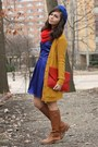 Blue-lulus-dress-red-oasap-purse-mustard-forever21-cardigan