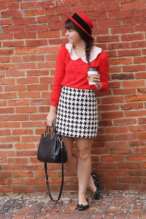 red thrifted hat - black Handbag Heaven purse - red OASAP blouse