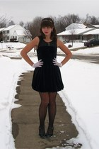 black forever21 dress - white thrifted gloves - silver thrifted earrings - silve