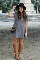 black H&M dress - light brown Old Navy boots - black OASAP hat