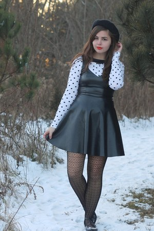 white thrifted shirt - black LuLus dress - black pink and pepper flats