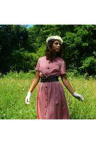 pink thrifted dress - white thrifted gloves - white thrifed hat - black kohls be