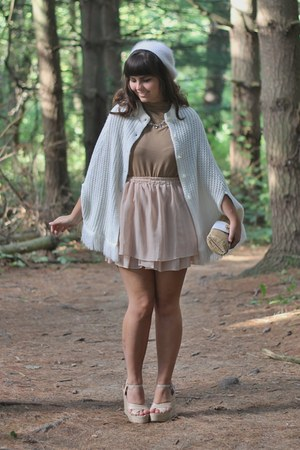beige thrifted cape - light brown thrifted shirt - tan Lulus wedges