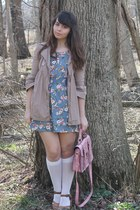 sky blue Forever21 dress - tan kohls coat - light pink Platos Closet purse