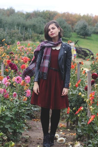 black H&M jacket - crimson modcloth dress - brick red flea market scarf