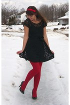 black forever21 dress - ruby red JcPennys tights - black thrifted heels - ruby r
