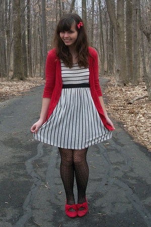 white Forever21 dress - red Gabriel Brothers cardigan - red thrifted heels