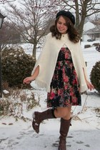 off white thrifted sweater - black thrifted dress - dark brown thrifted boots -