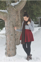 dark brown pink and pepper boots - silver H&M sweater