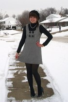 black Kohls dress - black Target hat - black thrifted heels - ivory thrifted acc