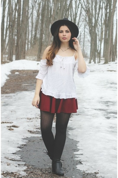 white Forever21 blouse - black thrifted boots - black OASAP hat
