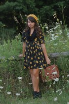 black thrifted dress - mustard Target hat - brown Forever21 bag