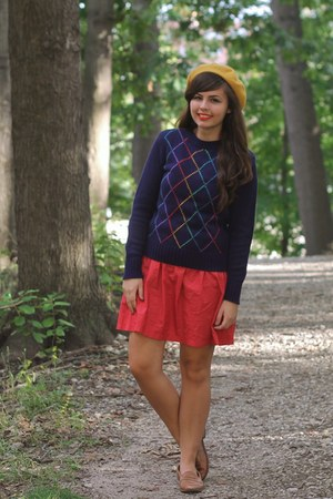 navy thrifted sweater - red modcloth dress - mustard Target hat