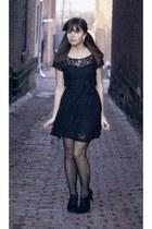 black Forever21 dress - black Forever21 heels