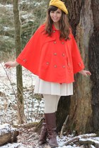 red Forever 21 cape - beige H&M dress - mustard Target hat