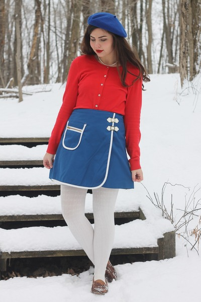 navy vintage 60s skirt - red Old Navy sweater - light brown thrifted flats