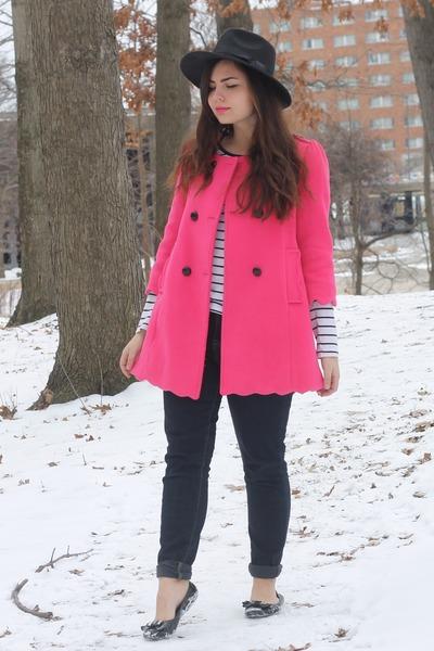 hot pink OASAP coat - black OASAP hat - white Forever21 top