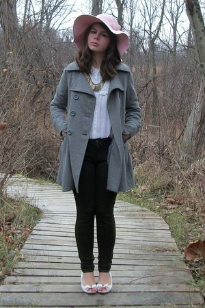 heather gray Delias coat - green Target leggings - off white Old Navy blouse - l