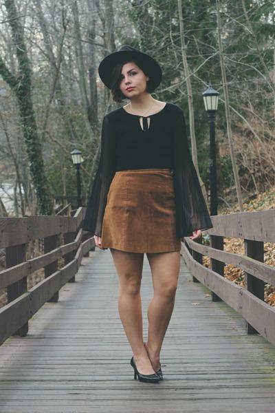black thrifted top - burnt orange thrifted skirt
